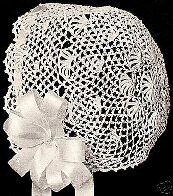 Vintage Antique Crochet PATTERN to make Baby Cap Hat Bonnet Fan ColumbiaFan