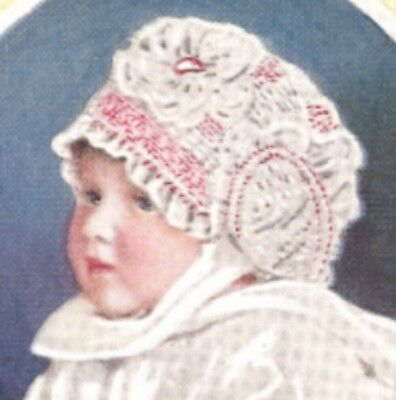 Vintage Antique Crochet PATTERN to make Baby Cap Hat Bonnet Puff Stitch 1920Dimp