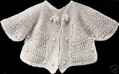 Vintage Antique Crochet PATTERN to make Baby Sacque Coat Sweater Jacket 1918