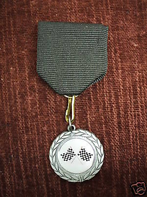 silver flag racing medal black pin cub scout derby