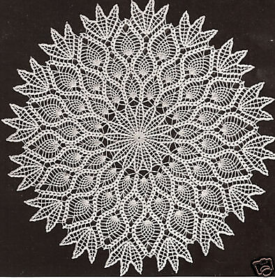 Vintage Crochet PATTERN to make Pineapple Design Doily Centerpiece Mat 18""