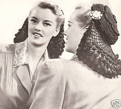 Vintage Crochet PATTERN to make Snood Pill Box Hat Cap 1940s Hair Net Guimpe