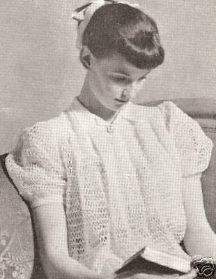 Vintage Bed Jacket Sweater Puff Top Knitting PATTERN
