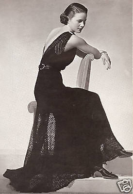 Vintage Knitting PATTERN to make Lace Evening Gown Dress Formal Jacket 30s Miner