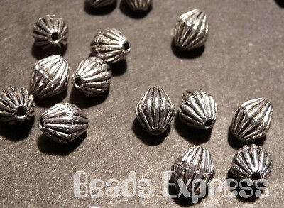 30pc 6mm Tibetan Silver Striped Bicone Metal Spacer Beads (T009)