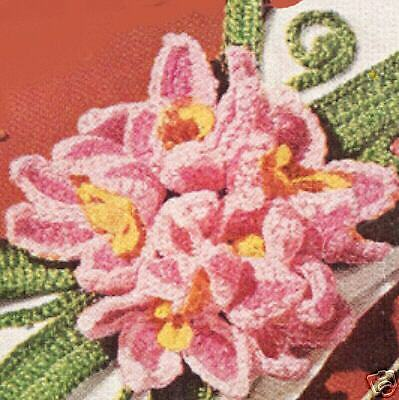 Vintage Crochet PATTERN to make Floral Flower Motifs Curtain Tie-backs Gladiolas
