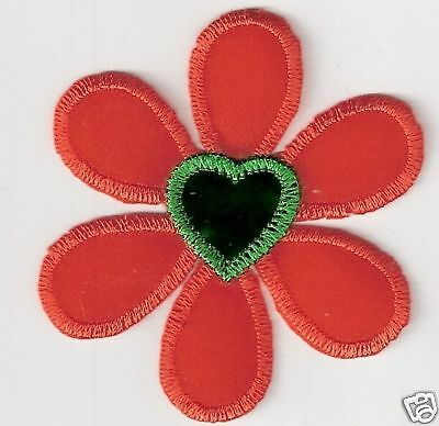 Orange Green Heart Flower Embroidery Applique Patch