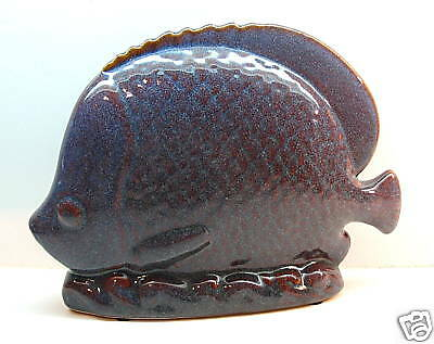 PURPLE GLAZED POTTERY FISH FIGURINE WITH BROWN SPECKLES FROM JAPAN