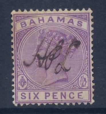 BAHAMAS 1884 QV 6d FINE FISCAL MALFORMED E VARIETY USED