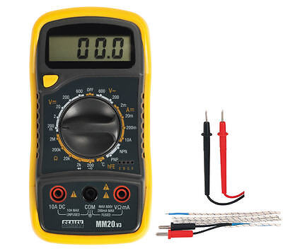 Sealey MM20 Digital AC DC Multimeter/Voltmeter + Test Leads/Probe & Thermocouple