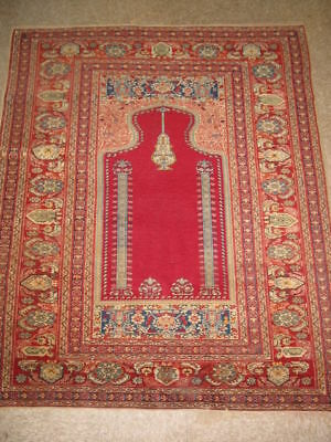 c1920's Antique Anatolian Prayer Turkish Rug B-7585