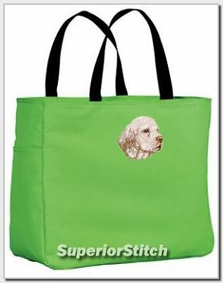 CLUMBER SPANIEL embroidered essential tote ANY COLOR