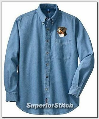 GREATER SWISS MOUNTAIN DOG embroiderd denim shirt XS-XL