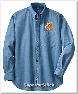 IRISH TERRIER embroidered denim shirt XS-XL