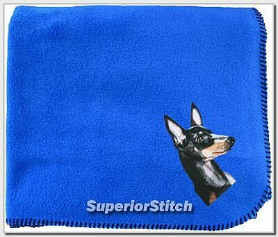 MANCHESTER TERRIER  embroidered blanket ANY COLOR