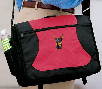 MINIATURE PINSCHER embroidered messenger bag ANY COLOR