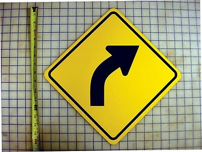 Curve Right Ahead Yellow Aluminum Sign