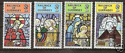 Guernsey # 86-9 Mnh Christmas 1973 Stained Glass