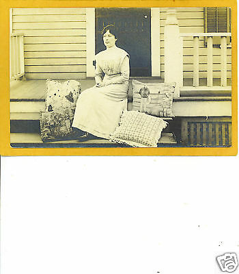 Real Photo Postcard RPPC - Woman w/ Beautiful Pillows