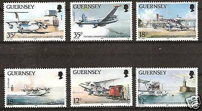 Guernsey # 404-9 Mnh Airport Airplanes
