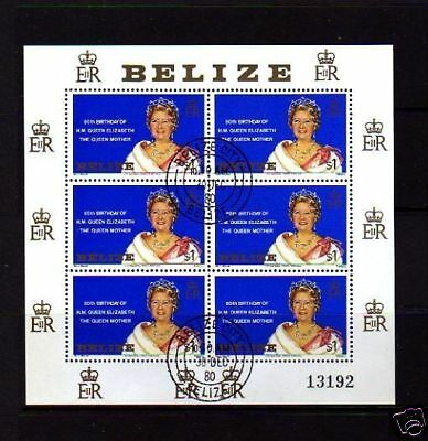 BELIZE -1980 - QUEEN MOTHER - 80th BIRTHDAY - CTO  SHEET OF 6!