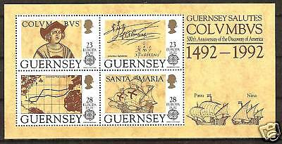 GUERNSEY # 470a MNH DISCOVERY AMERICA COLUMBUS & MAP