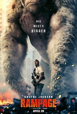"""RAMPAGE 2018 Advance Teaser DS 2 Sided 27x40"""" US Movie Poster Dwayne Johnson"""