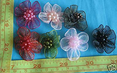 Organza Bow flowers, Mesh Bow Craft Flower Sew on, Mesh Ribbon Satin Bow 6PCS