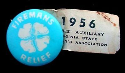 1956 Fireman Ladies Auxiliary Virginia State Firemans Association Relief Button