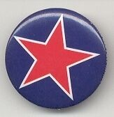 Red Star on Blue Background punk Button Pin Pinback