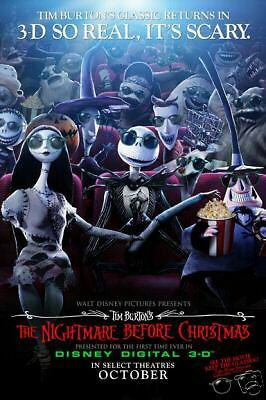 NIGHTMARE BEFORE CHRISTMAS 3D Orig 2 Sided Movie Poster