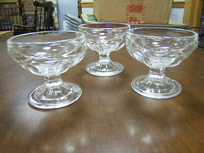 "Federal Glass 3 Sundae Glasses clear 3"" tall Marked"