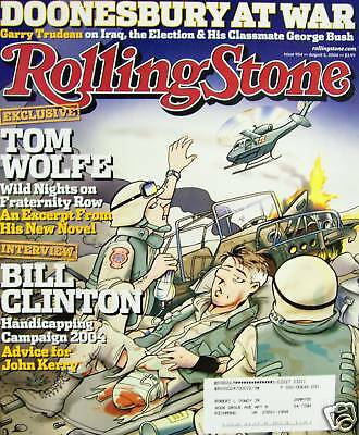 Rolling Stone 8/04 Gary Trudeau Doonesbury/Tom Wolfe/Hives/Sharon Stone/Roots