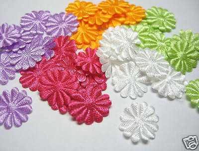 Cute Satin Daisy Flower Appliques x 200 Mix - Cards