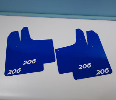 Rally style Mudflaps PEUGEOT 206 GTi Mud Flaps (4mm PVC) Qty4 Blue Logo White