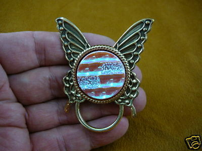 (#E-318) Butterfly pink Eyeglass pin pendant ID badge holder loop glasses hold