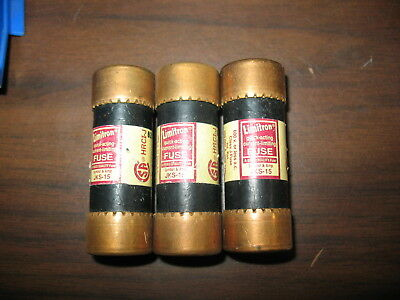 New Lot of 3 Bussmann JKS-15 Class J Fuses  JKS15