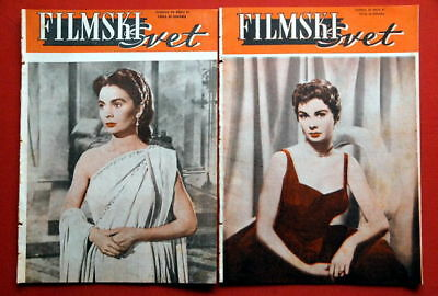 JEAN SIMMONS 2X COVER 1955 VERY RARE EXYU MAGAZINES