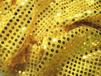G04  *PER YARD* Shiny Yellow 6mm Round Shape Gold Sequins Fabric Dress Material