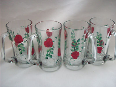 Hand painted glass red apple mugs