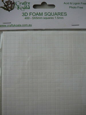 400 3D Foam Squares/Dots Scrapbook Card Making 1.5 mm