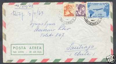 Italy To Chile Airmail Cover 1962 With 3 Granchi Stamps L@@K