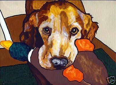 GOLDEN RETRIEVER DUCK dog art PRINT of Painting by VERN