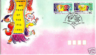 1995 Christmas Island Year Of The Pig (Gummed Stamps) FDC