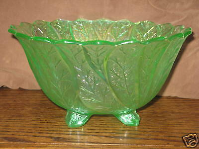 IMPERIAL GLASS GREEN CARNIVAL FOOTED BOWL ACANTHUS LEAF LENOX  LIG