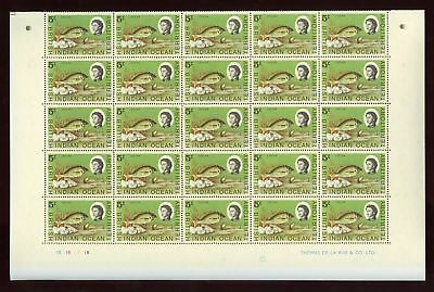 BIOT 1968 LASCAR FISH 5c FULL SHEET 50 stamps