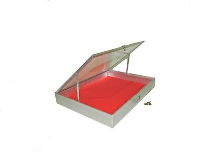 34x22x31/4 Aluminum Side Opening Glass Top Display Case