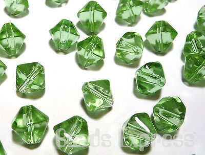 40pc 8mm Crystal Glass Bicone Beads - Light Green (BB8007)