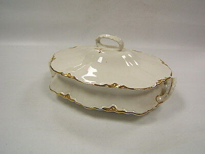 Homer Laughlin Republic White Gold Trim covered dish