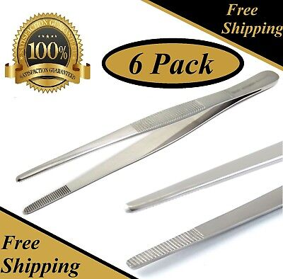 "6 Pcs Thumb Dressing Forceps 8"" Serrated Tweezers Surgical Instruments"